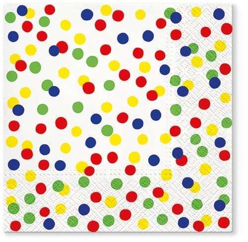 Tete a Tete Servietten Dots Confetti colorful 33x33cm