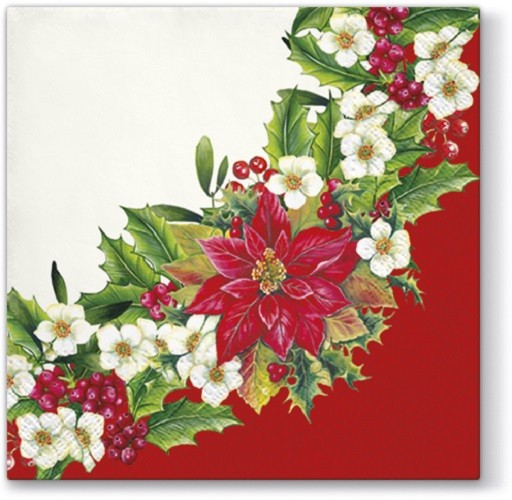 20 Servietten Wreath With Poinsettia Red Weihnachtsstern Im Kranz Rot 33x33cm