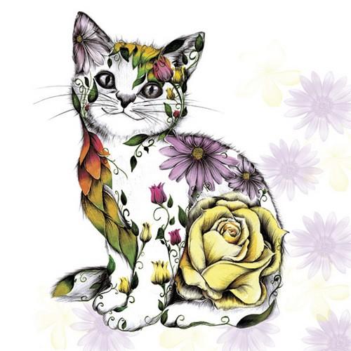 Daisy Servietten Floral Smilling Kitty 33x33cm