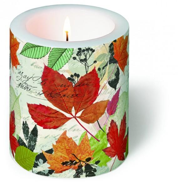 Kerze rund Herbarium - Bunte Blättersammlung Ø 9cm, Höhe 10cm