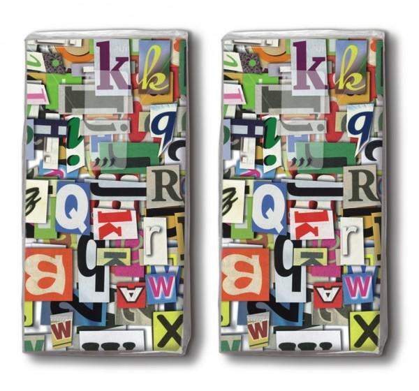 2x 10 Taschentücher Colourful Letters - Bunte Buchstaben