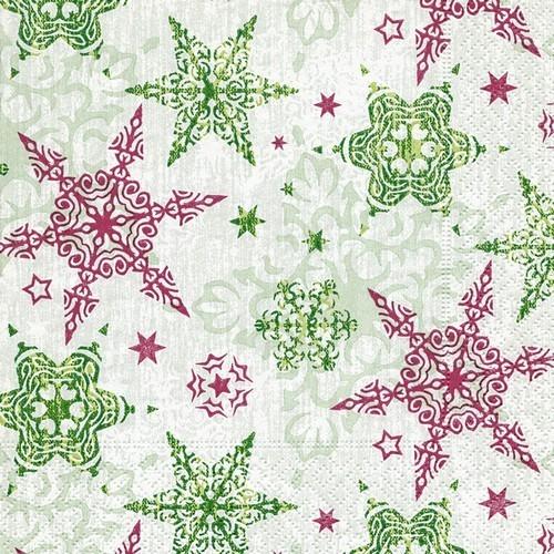 20 Servietten Delicate Stars Green 33x33cm