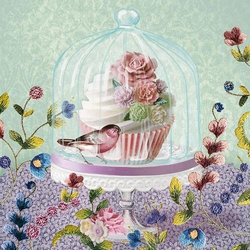 Ambiente Servietten Cupcake in Glass Bell 33x33cm