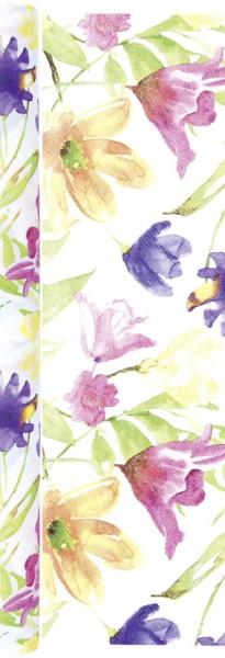 Tischläufer Lucy - Gemalte Blumen 490x40cm