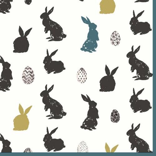 20 Servietten Bunny craze – Silhouetten von Hasen und Eiern 33x33cm