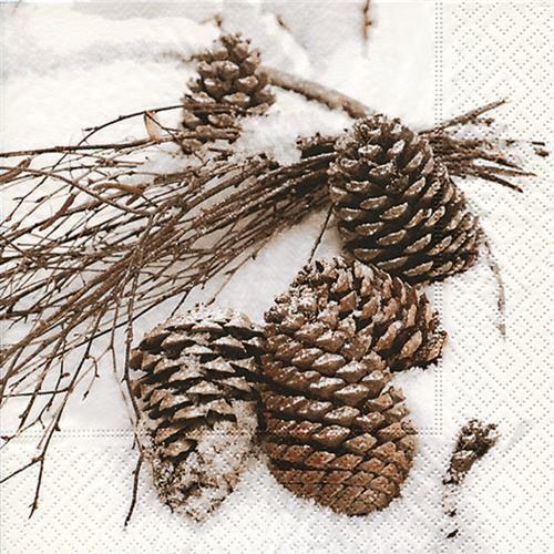 20 Servietten Cones in Snow - Zapfen im Schnee 33x33cm