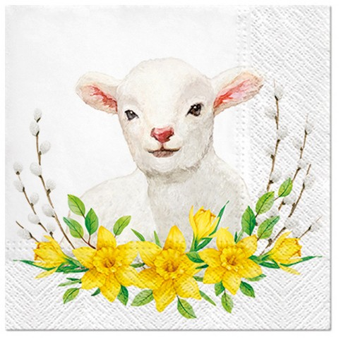 20 Servietten Lamb with Wreath - Lamm um Narzissen 33x33cm