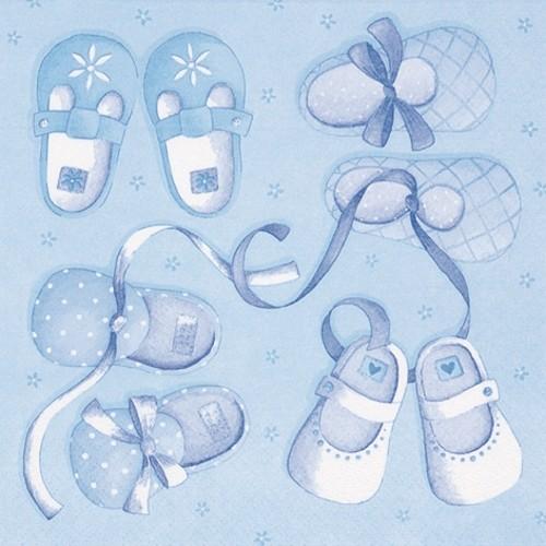 20 Servietten New Arrival Boy - Kleine Schuhe blau 33x33cm