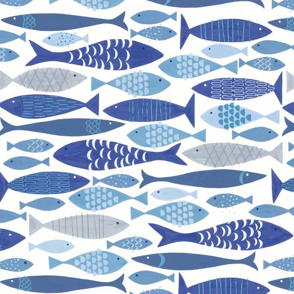 20 Cocktailservietten Shoal of Fish – Blaue Fische unterwegs 24x24cm