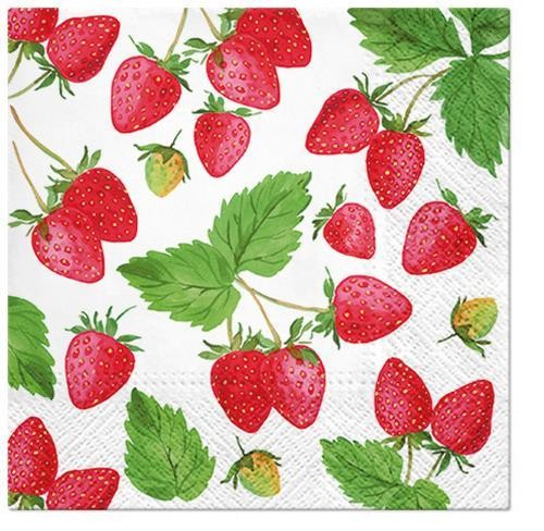 20 Servietten Fresh Strawberry 33x33cm