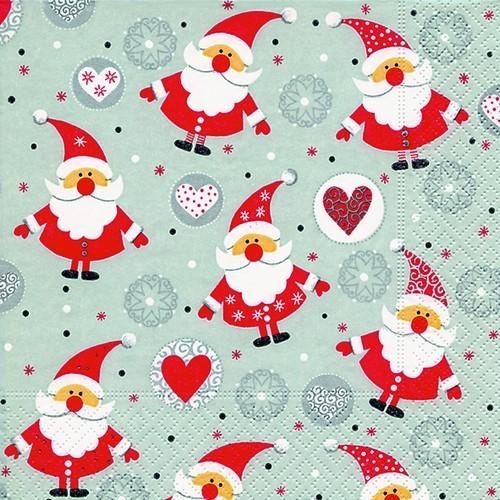 20 Servietten Funny Santas 33x33cm