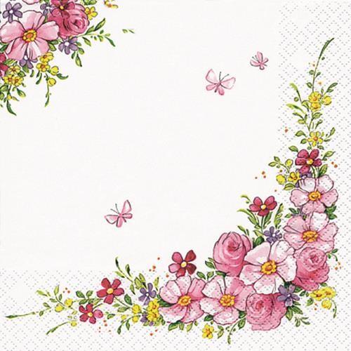 20 Servietten Cute Flowers - hübsche Blumen 33x33cm