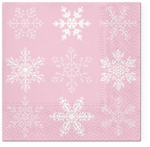 20 Servietten Big Snowflakes pink - Große Schneekristalle auf rosa 33x33cm