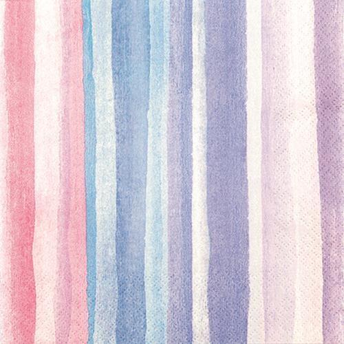 20 Servietten Watercolours blue/rose - Streifen Wasserfarben blau/rosa 33x33cm