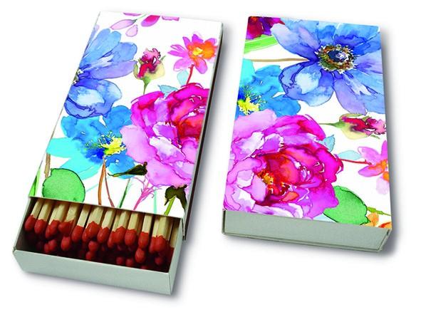 Kaminhölzer 45er Box Watercolour Flowers - Blumen aus Wasserfarben 11x6,3cm