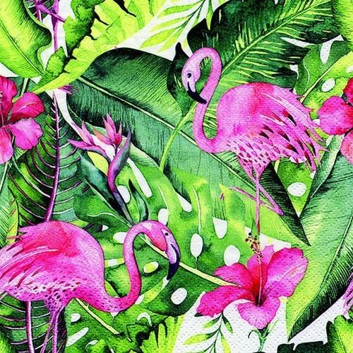 20 Servietten Flamingo & Hibiscus - Flamingo auf Urwaldblätter 33x33cm