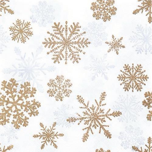 20 Servietten Snow Crystals copper - Schneekristalle kupfer 33x33cm