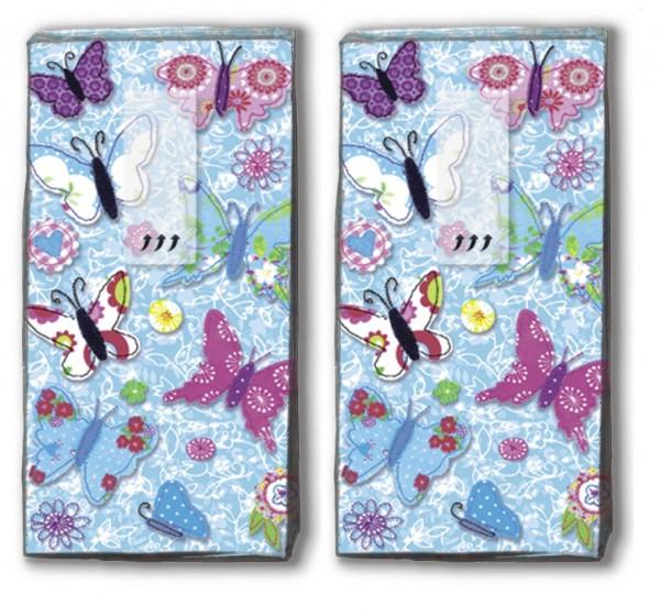 DP 10 Taschentücher handmade butterflies - Handgemachte Schmetterlinge