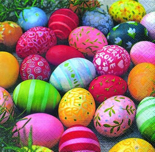 20 Servietten Colourful eggs - Farbenfrohe Ostereier 33x33cm