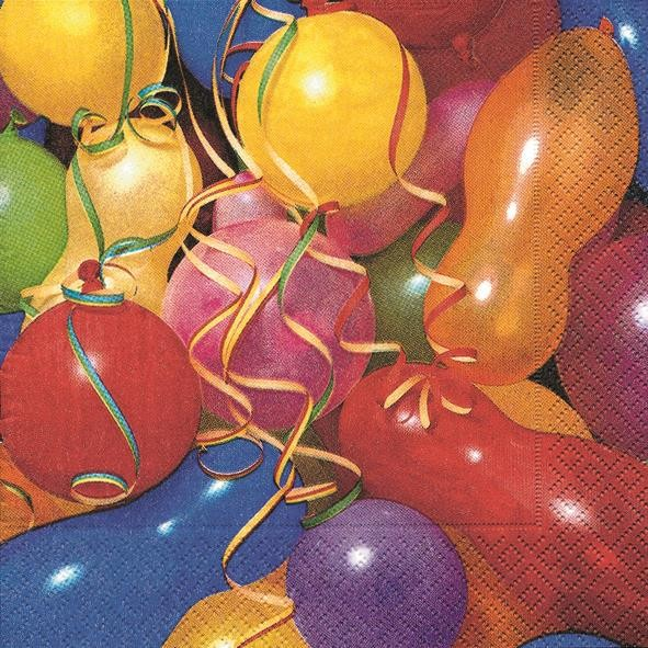 20 Servietten Colourful Balloons - Bunte Ballons 33x33cm
