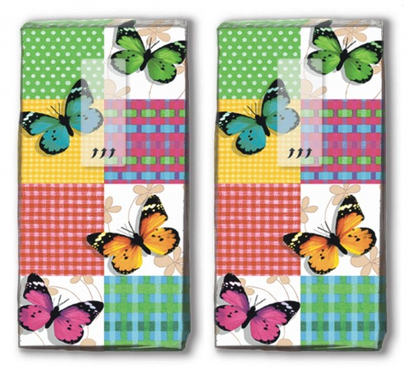 2x 10 Taschentücher Butterflies & Squares - Schmetterlinge & Quadrate