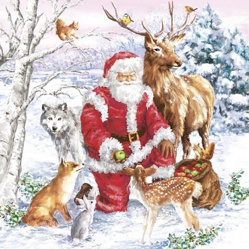 20 Servietten Santa & Animals 33x33cm