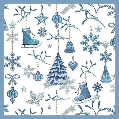 20 Servietten Winter Collection - Blaue Winterharmonie 33x33cm