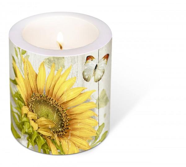 Kerze rund Vintage Sunflower – Vintage Sonnenblume Ø9cm, Höhe 10cm