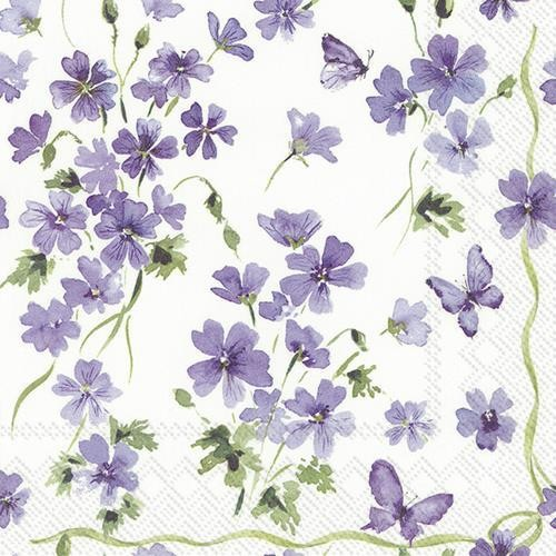 20 Servietten Purple Spring - Frühling in Flieder 33x33cm