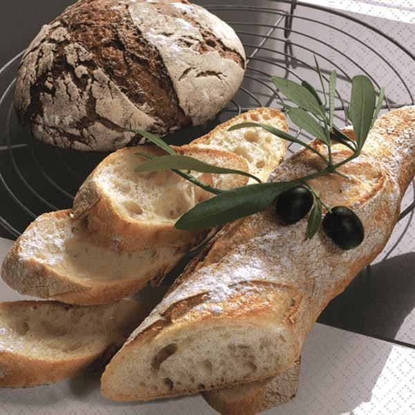 20 Servietten Fresh Bread - Frisches Brot 33x33cm