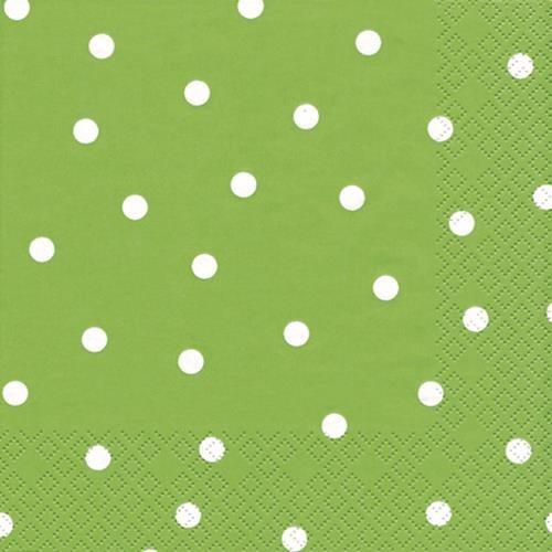 20 Servietten Punkte hellgrün 33x33cm