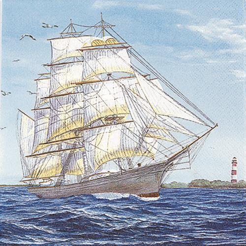 20 Servietten Lighted Leuchtturm an Küste Maritim See Meer Tischdeko 33x33cm