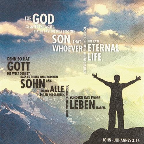 20 Servietten John 3 : 16 - 33x33cm