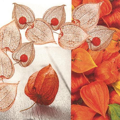 20 Servietten Inca Berry - Physalis überall 33x33cm
