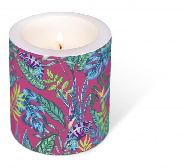 Kerze rund Chameleon – Versteckt und getarnt Ø9cm, Höhe 10cm