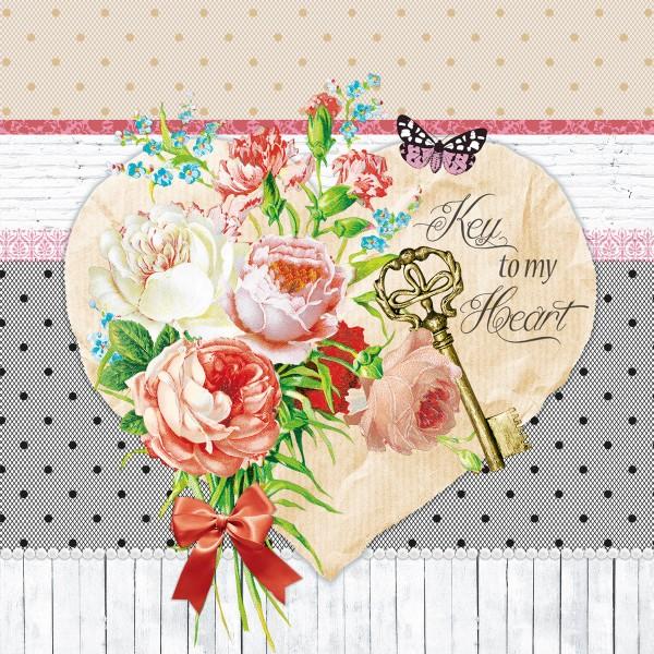20 Servietten Key to my heart - Schlüssel zum Herzen 33x33cm