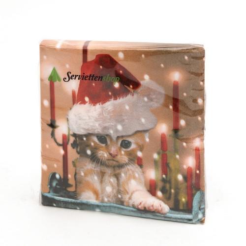 3 Servietten Cat is waiting for Christmas Weihnachten Katze