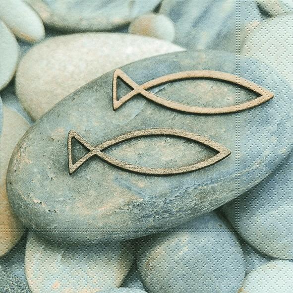 20 Servietten Decision - Steine mit Fische 33x33cm