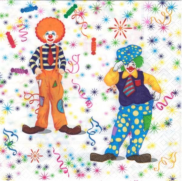 20 Servietten Clowns 33x33cm
