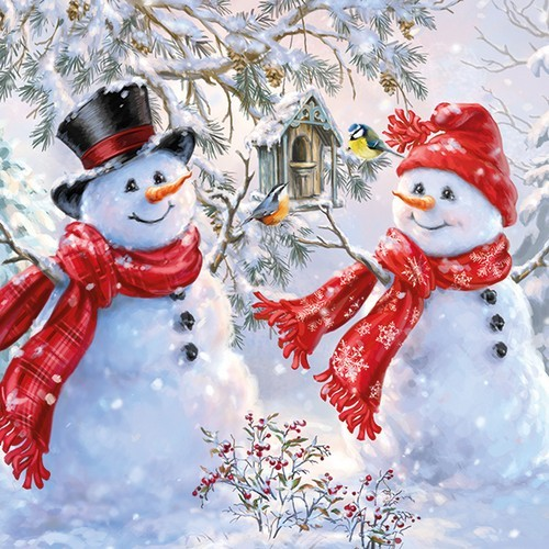 20 Servietten Snowmen and Birds 33x33cm