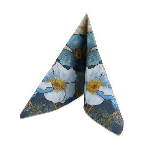 Blumen 33x33cm Blaue Harmonie 20 Servietten Harmony in Blue