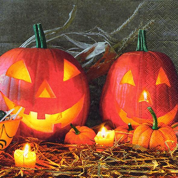 20 Servietten Pumpkin King - Halloween-Kürbis 33x33cm