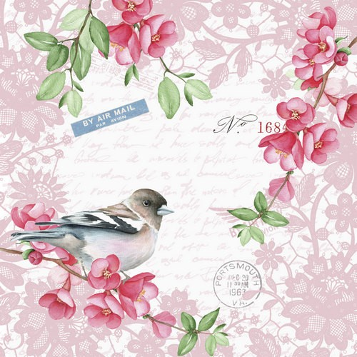 20 Servietten Sweet Bird 33x33cm
