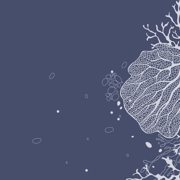20 Cocktailservietten Coral – Korallen auf dunkelblau 24x24cm