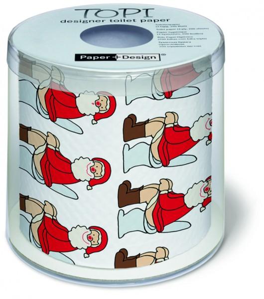 Toilettenpapier Rolle bedruckt Oh - Santa auf Topf