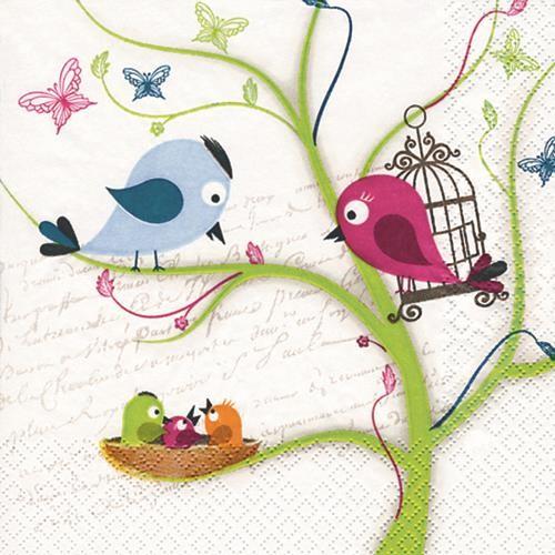 20 Servietten Family Tweety - Vogelfamilie 33x33cm