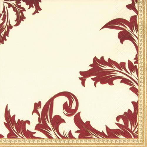 20 Servietten Luxury champ./bordeaux - Ornamente edel champ./bordeaux 33x33cm