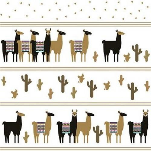 20 Servietten Trendy Black and Gold Lamas 33x33cm