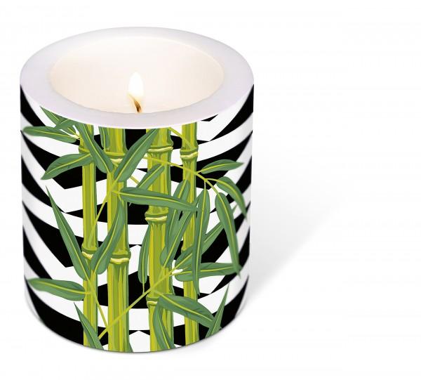 Kerze rund Bamboo Leaves – Bambus auf Streifen Ø9cm, Höhe 10cm
