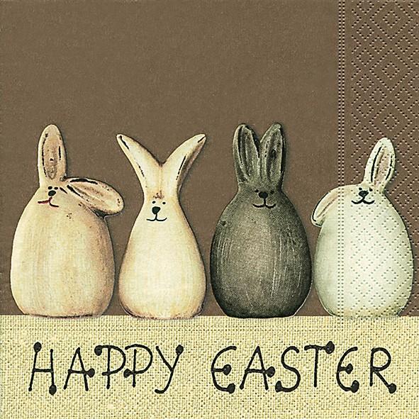 20 Servietten Happy Easter bunnies - Happy Easter Hasen 33x33cm